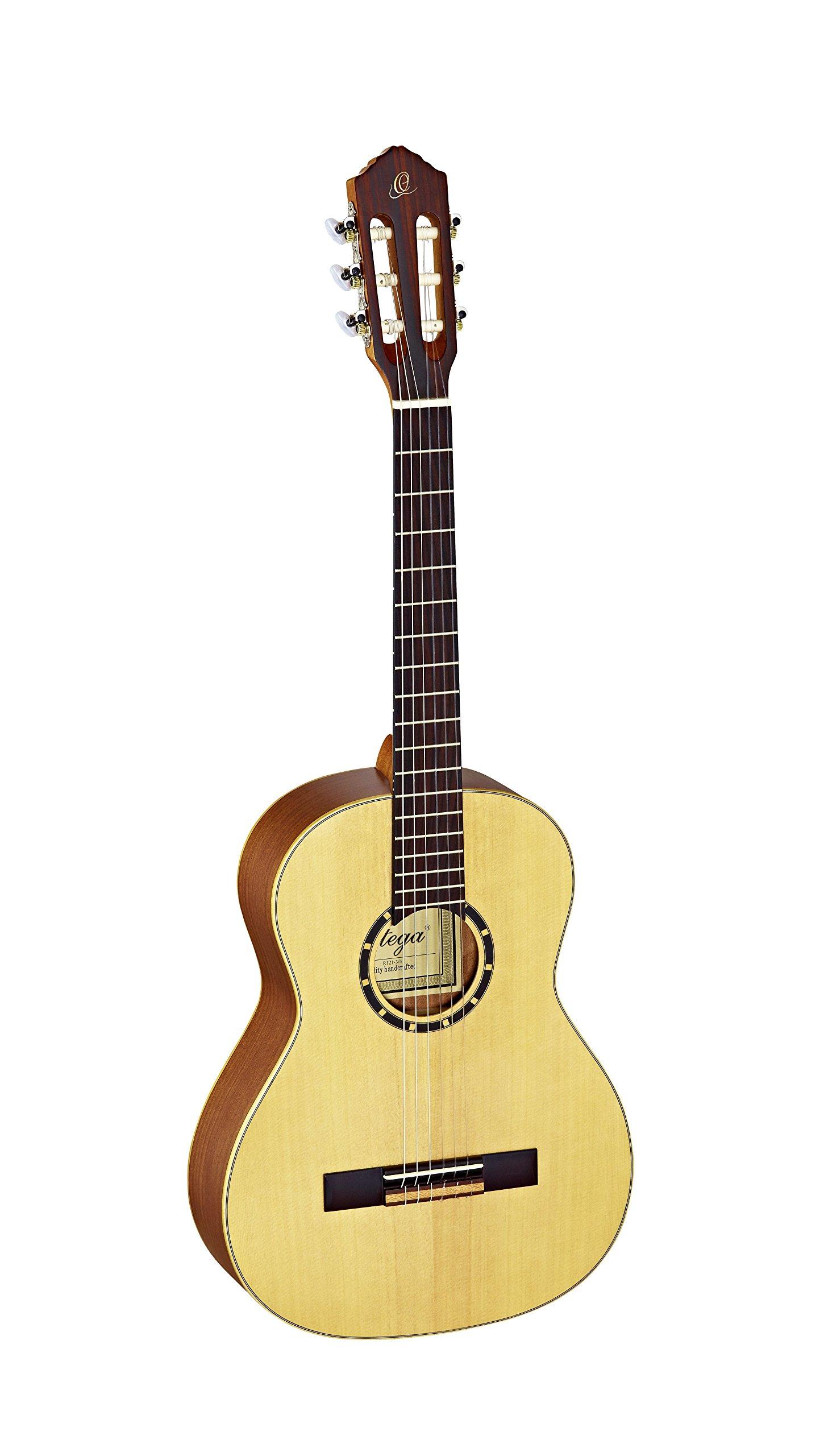 Ortega Guitars 6 String Family Series 3/4 Size Nylon Classical Guitar w/Bag, Right, Spruce Top-Natural-Satin, (R121-3/4)