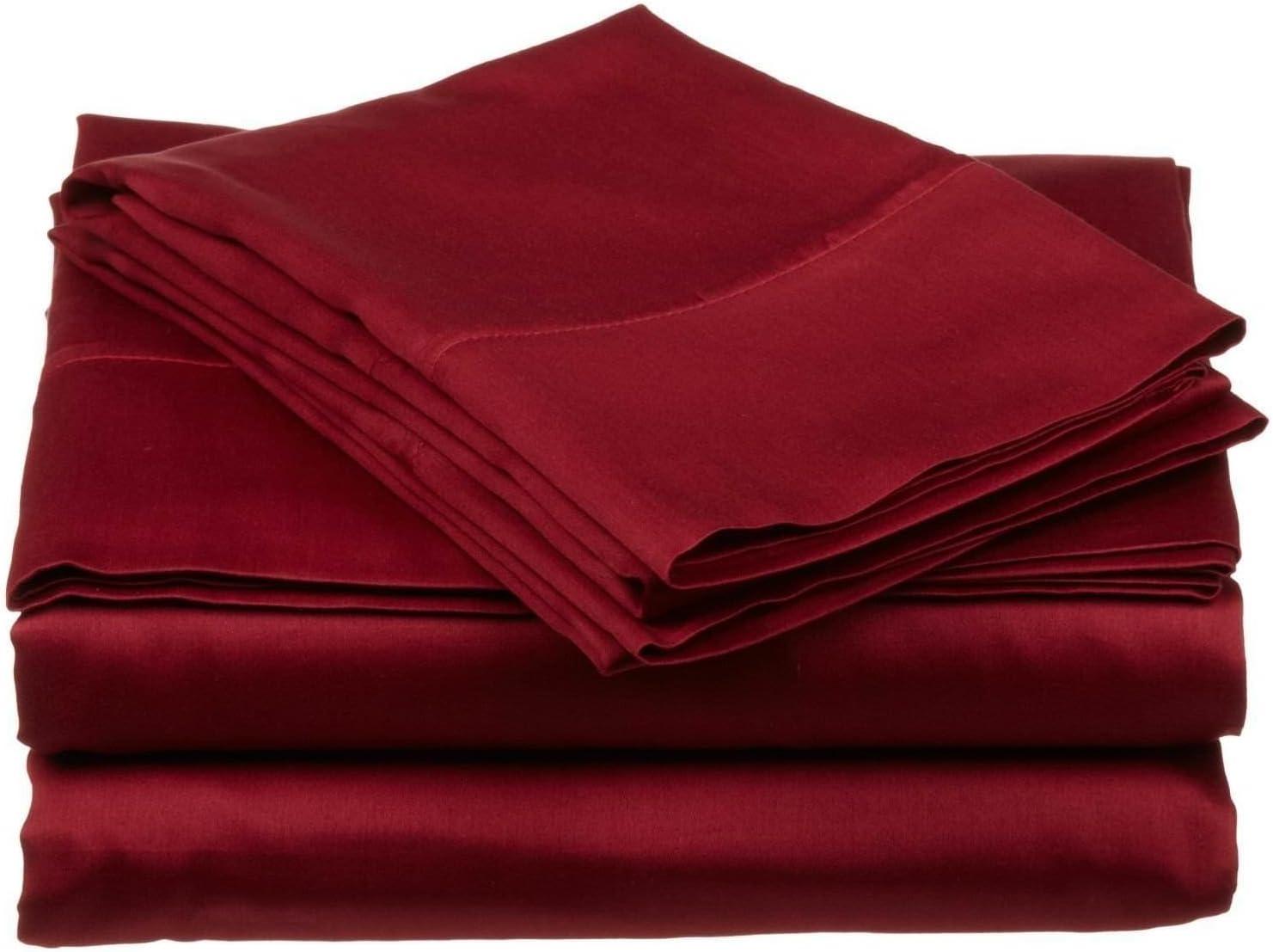 Ras Décor Linen 600-Thread-Count 100% Cotton Bed Sheets Burgundy Solid RV Short Queen Sheet Set, 4-Piece Long-Staple Combed Cotton, Breathable, Soft & Sateen Weave Fits Mattress Upto 15'' Deep Pocket