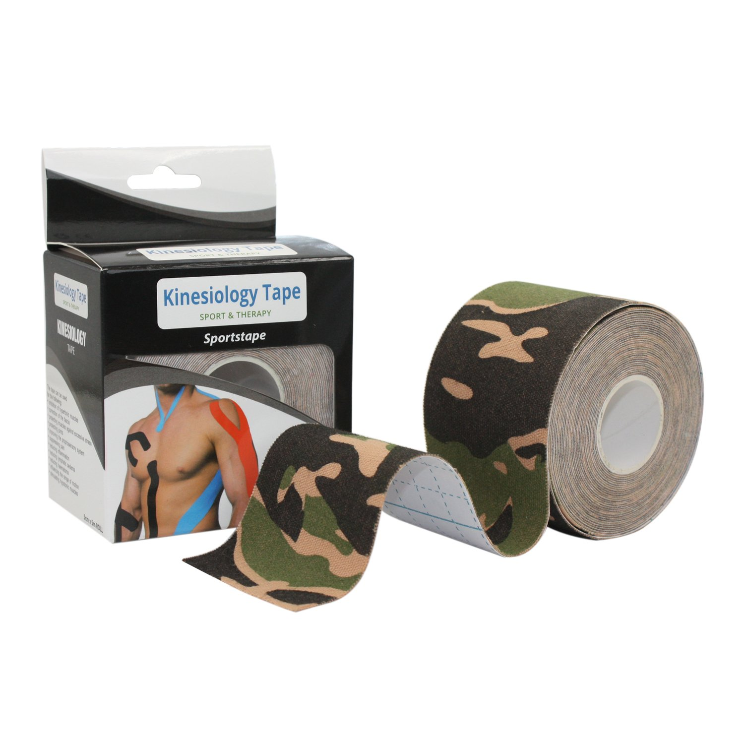 Kinesiology Tape COMOmed Perfect for Athletic Sports, 5cm x 5m Roll Uncut, Best Waterproof Muscle Support Adhesive, Physio Therapeutic Aid Therapy to Release Pain and Injuries,1 Pack,Camo Green