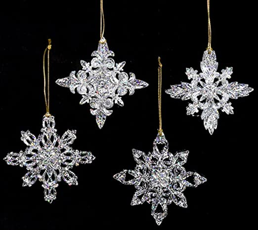 Christmas Tablescape Decor - Icy Crystal Clear Filigree Snowflake Christmas Ornaments Pack of 24