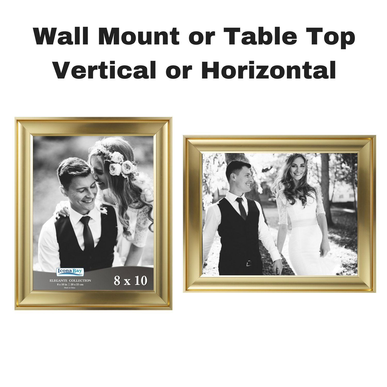 Icona Bay 8x10 Picture Frame (6 Pack, Gold), Gold Photo Frame 8 x 10, Wall Mount or Table Top, Set of 6 Elegante Collection by Icona Bay (Image #4)