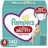 Pampers Diapers Size 4 - Cruisers 360˚ Fit Disposable Baby Diapers with Stretchy Waistband, 140 Count ONE Month Supply