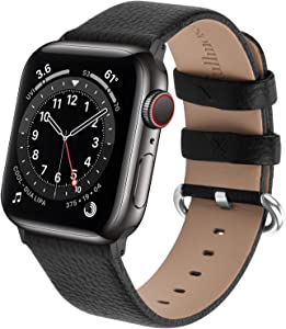 Fullmosa Genuine Leather Watch Band Compatible for Women Men Watch Series 6 SE Series 5 Series 4 (40mm,44mm), Series 3/2/1 (38mm, 42mm) Sport and Edition with Silver Buckle, Black