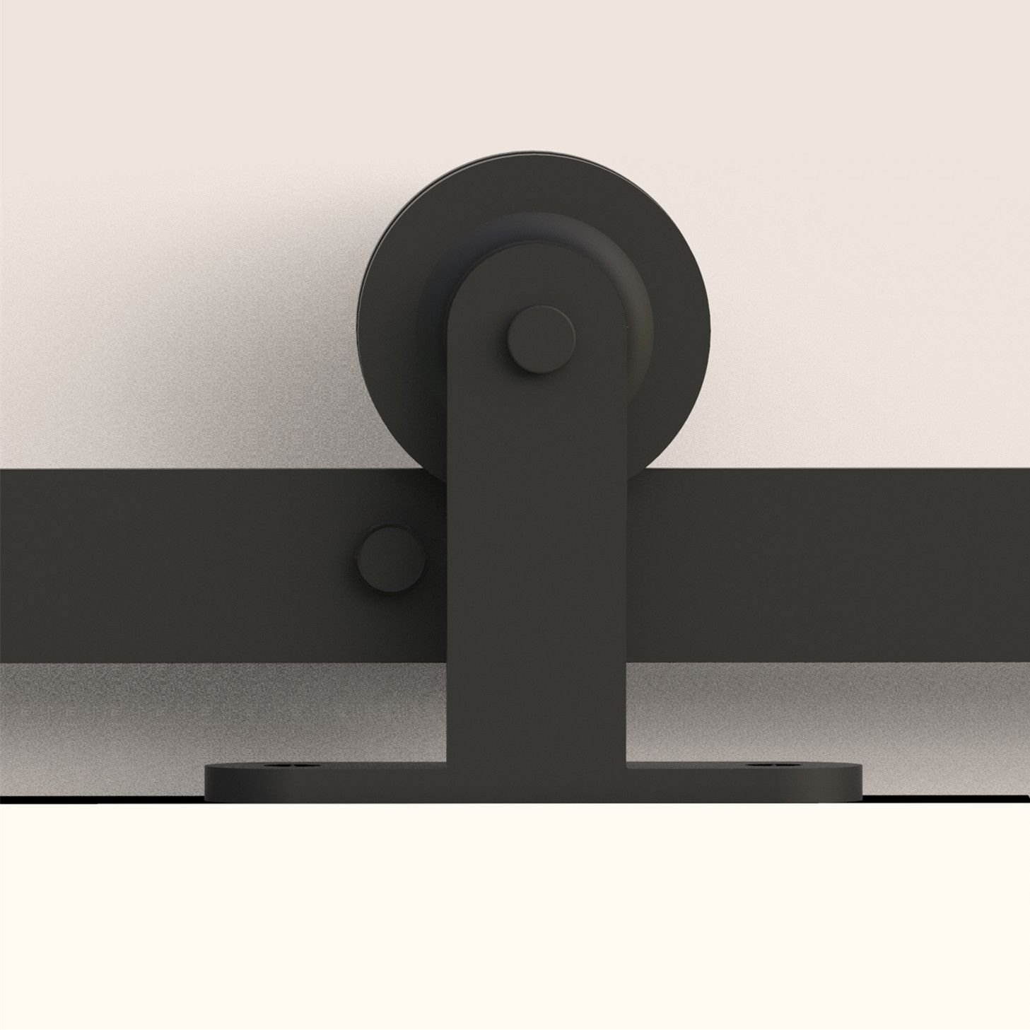 Fullhouse Rustic Black Single Sliding Barn Door Hardware Kit,6FT Track T-Shape Design - Industrial Strength Hangers, for Garage, Closet, Interior and Exterior Door Use Quiet and Smooth Sliding