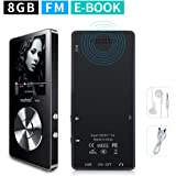 mymahdi 8GB Tragbarer MP3-Player (erweiterbar auf bis zu 128GB), Musik Player/one-key Voice Recorder/FM Radio 70Stunden Wiedergabe mit externen Lautsprecher HD Kopfhörer, Schwarz