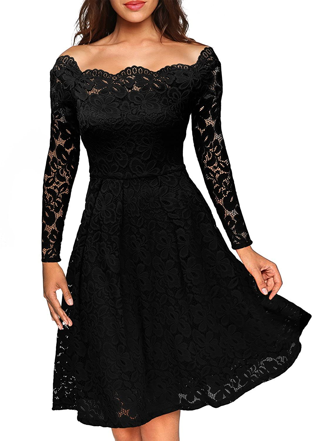 MIUSOL Women\'s Off Shoulder Short Sleeve Lace Evening Dress: Amazon ...