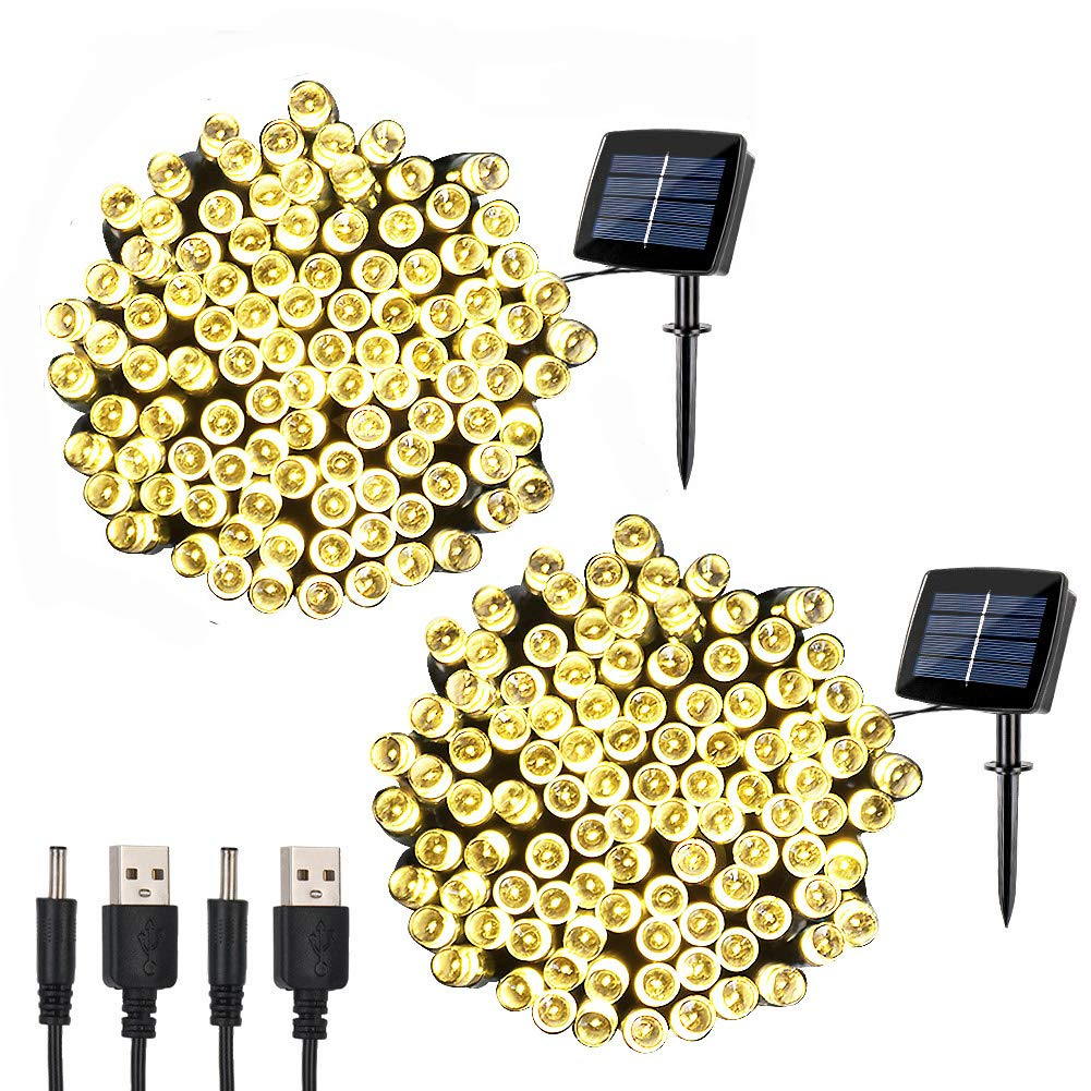 woohaha Solar Fairy String Lights Outdoor Waterproof, 2 Pack 72ft 200LED Updated Version 6hrs Timer Function with USB Cable Solar Powered String Lights for Christmas Patio Garden Party(Warm White)