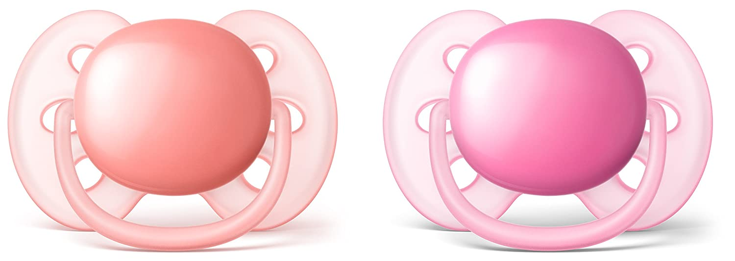 Philips Avent SCF223//20 decorados ni/ña 0-6 meses Pack de dos chupetes ultra suaves y flexibles color rosa durazno
