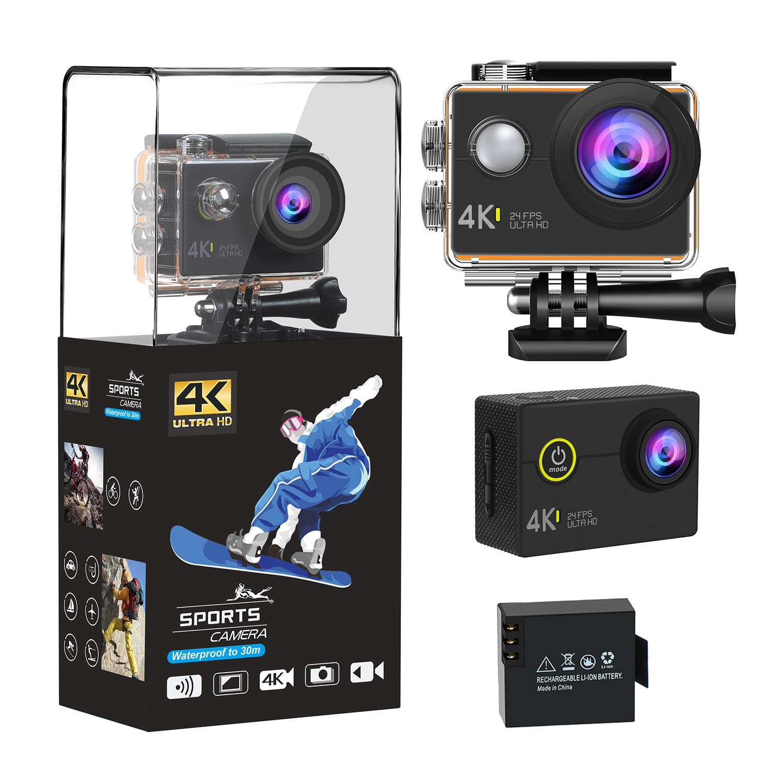 4K WIFI Action Camera, Gangdise 16MP Ultra HD Waterproof Sports Camera with 170 Degree Wide Angle Lens 2 Inch LCD Display, 1050mAh Rechargeable Battery Camcorder Sports Camera