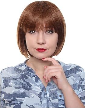 Prettyland Perruque Coupe Courte Frange Bob Raide Droite Chic Wig Naturel Comme Vrai Cheveux Chatain C524 Amazon Fr Beaute Et Parfum