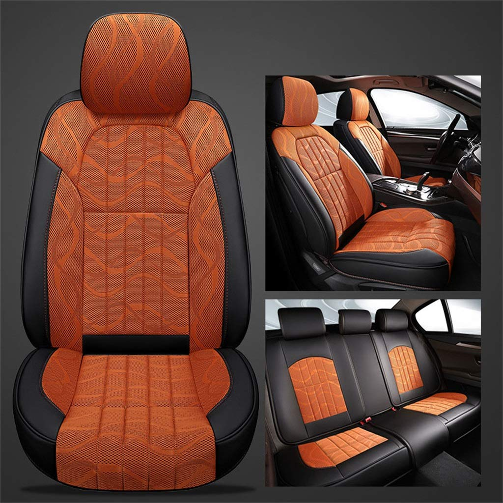 orange Car Seat Cushion Breathable 3D Mesh Four Seasons Universal,No Backrest Predector for Five-Seat Sedan Car SUV