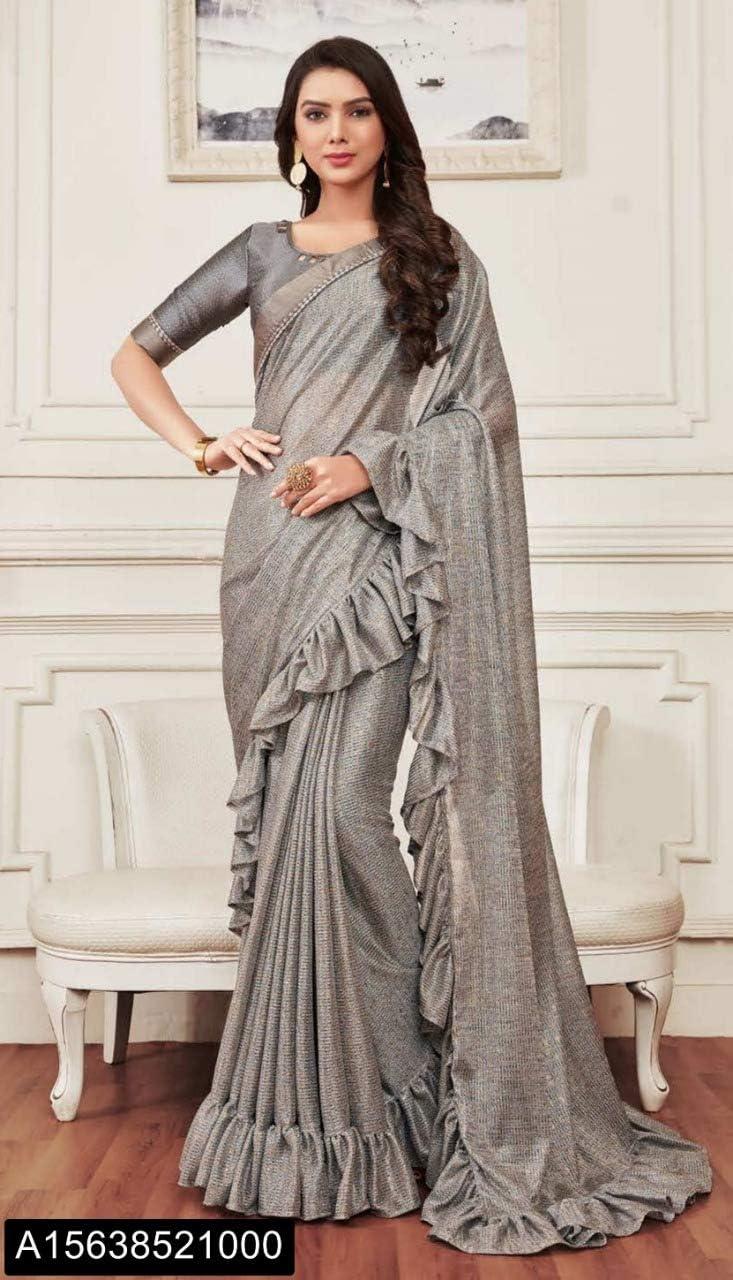 Amazon Com Grey Frilled Saree Gown Style Saree Ready To Wear Muslim Bridal Christian Lycra Wedding Pakistani Dress Suit Sari Blouse Eid 7770 Home Improvement