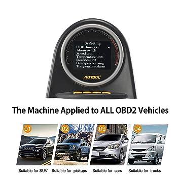 Autool X70 - Velocímetro Digital para Coche (12 V, OBD2/OBDII KMH mph