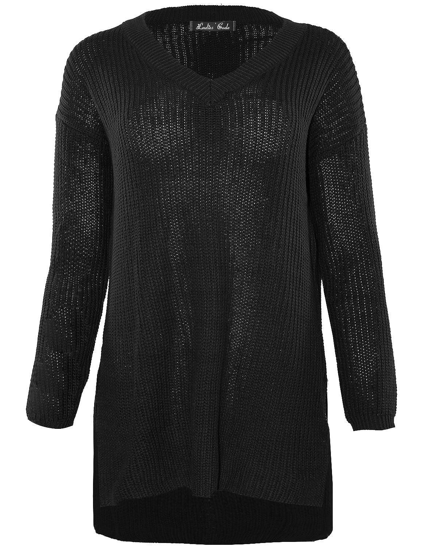 Ladies' Code Women's Long Sleeve V-neck Hi-Lo Knit Sweater w/ Side Slit Cut