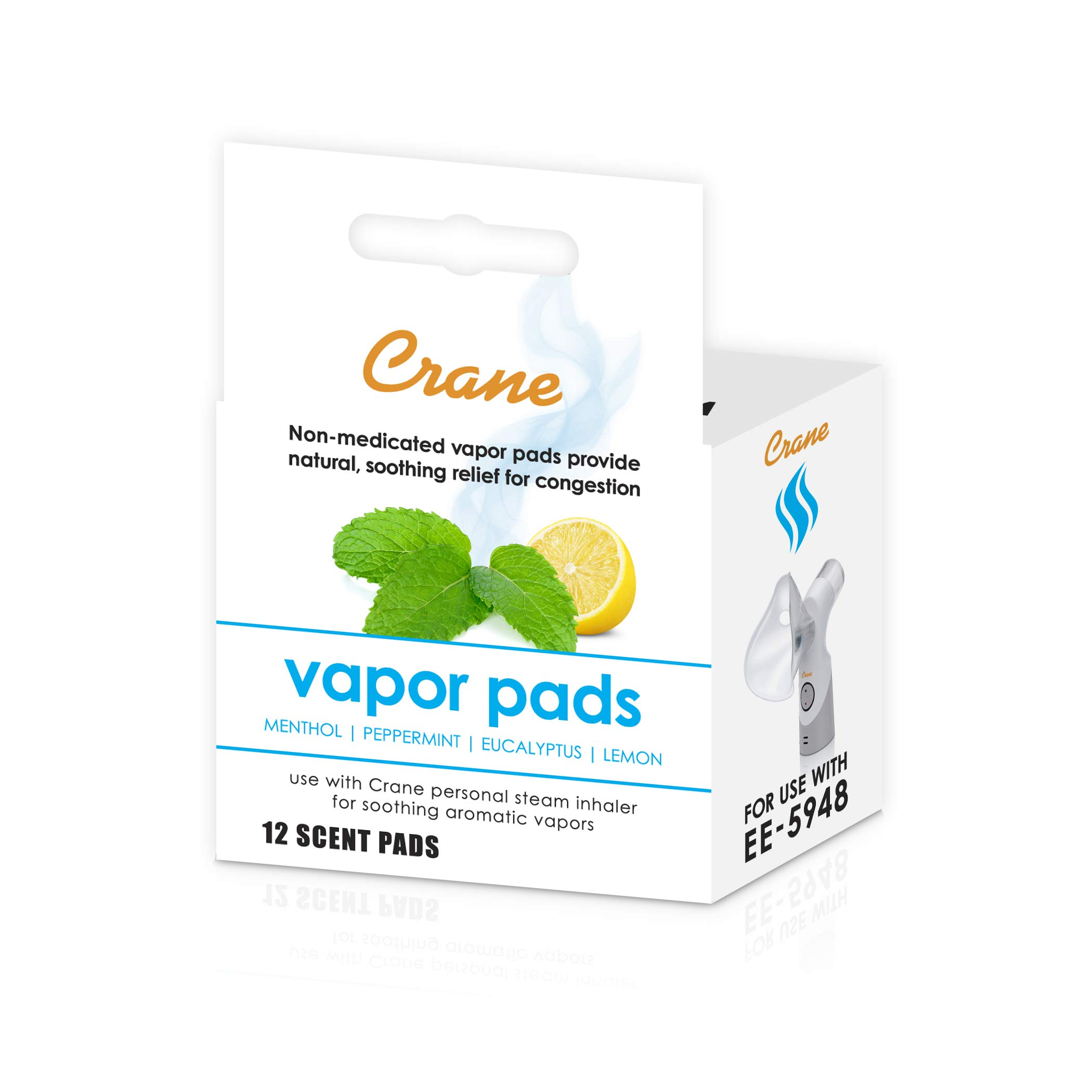 Crane Vapor Pads for EE-5948 Cordless Personal Steam Inhaler, 12 pack, White