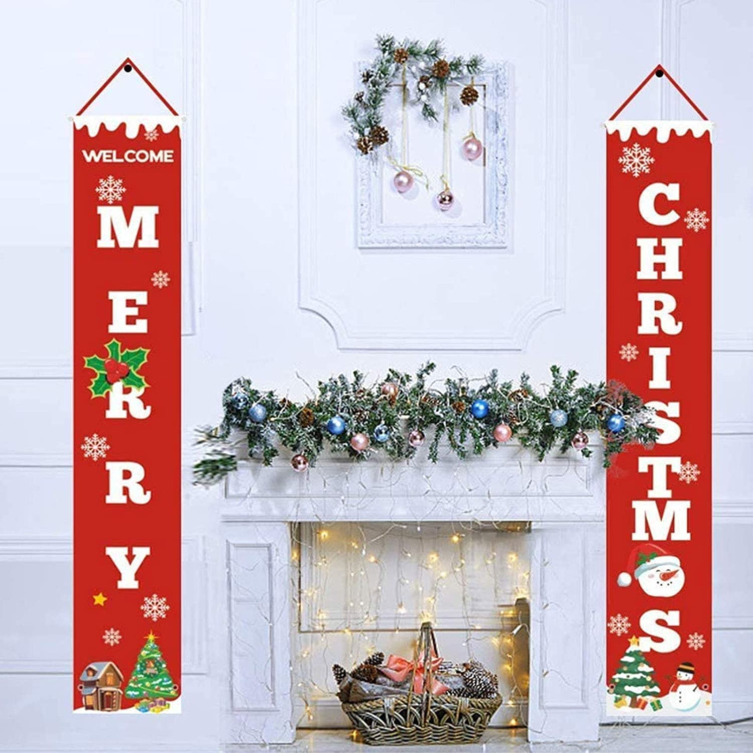 N/G Merry Christmas Porch Sign Santa Claus Porch Sign Christmas Decorations for Home Yard Indoor Outdoor Front Door Wall