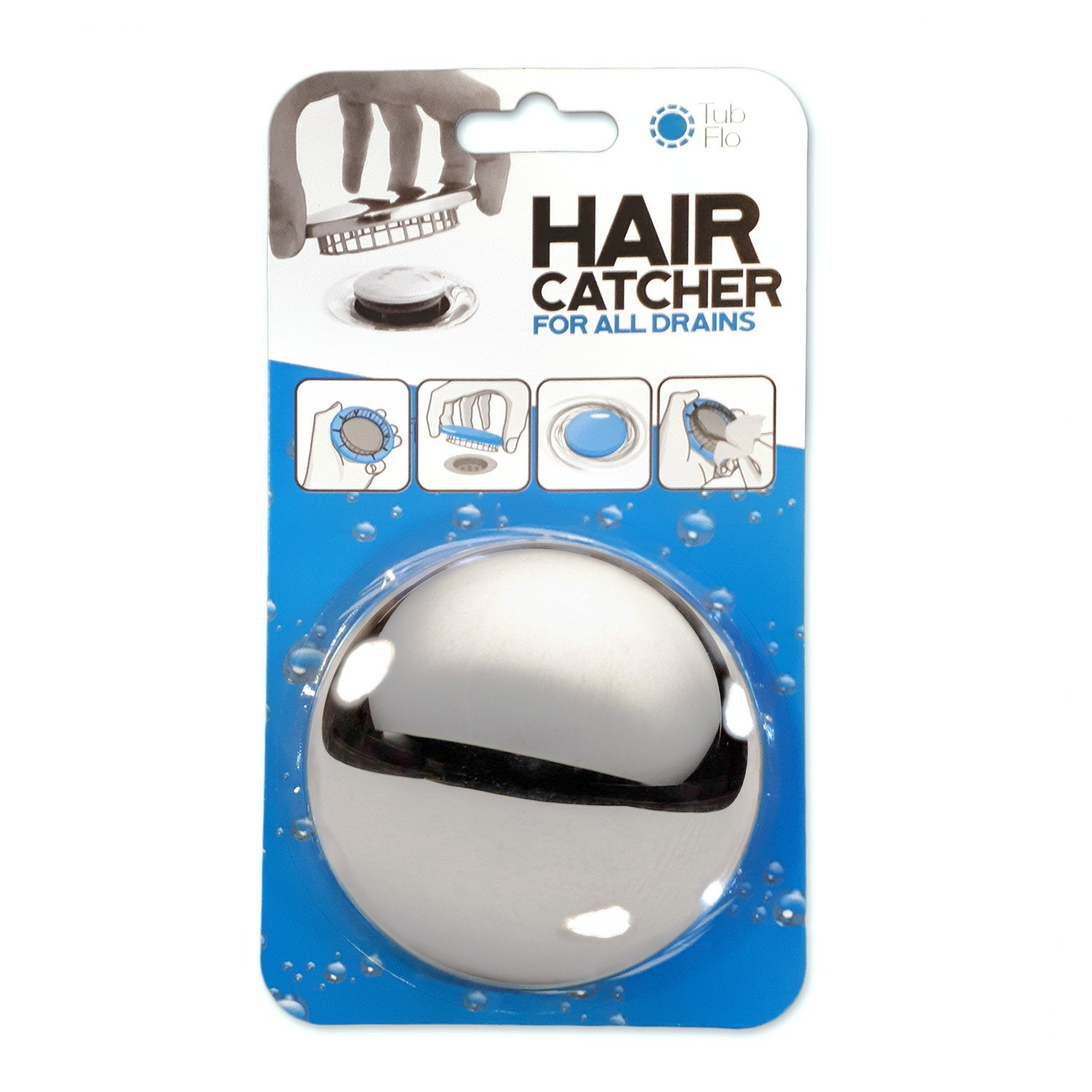 Tub Flo NEW The Beautiful Stainless Steel Hair Catcher that Requires No Installation and Keeps Water Flow. Universal Fit for All Showers, Tubs, Sinks, and Drains