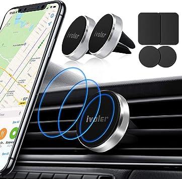 ivoler 2 Pack Soporte Magnético Móvil Coche Soporte Iman Móvil Coche para Rejilla del Aire,360°Rotación Soporte Iman Coche para iPhone 7/6s/6/5,Samsung Note8/S8,Xiaomi,BQ,LG: Amazon.es: Electrónica