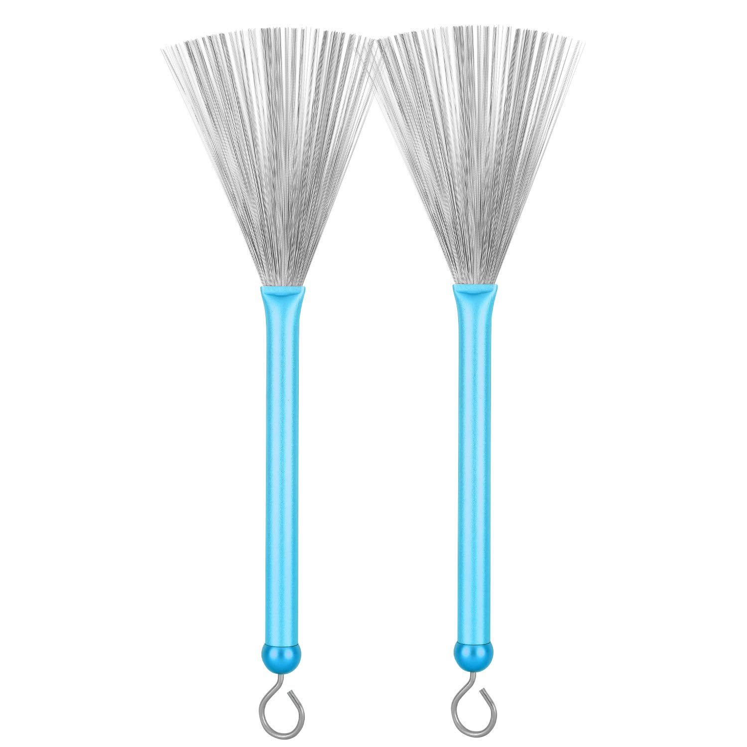 1 Pair Drum Brushes Retractable Drum Wire Brushes Drum Sticks Brush with Comfortable Aluminum Handles, Perfect Gift for Rock Band, Jazz Folk, Drummers, Music Lovers, Beginners, Students, Adults(Blue) 71dOUF95KVL