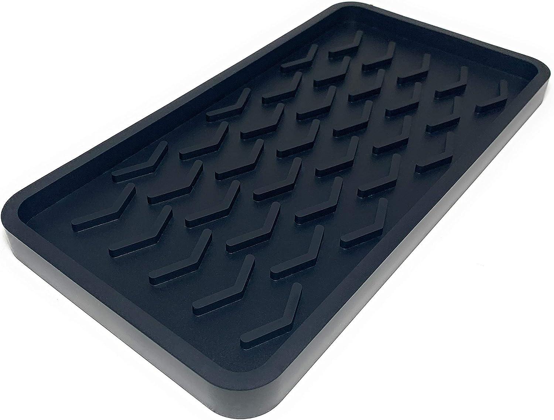 Silicone Kitchen Sink Organizer Tray, 10 inches x 5.25 inches, 10.4 ounces (TRUE BLACK)
