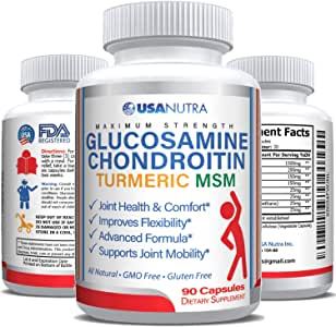 Glucosamine Chondroitin Turmeric MSM Boswellia 2100 mg Triple Strength Joint Pain Relief for Knees Back Hip Hands 90 Capsules. Helps Inflammation, Supports Flexibility. Non-GMO Gluten Free
