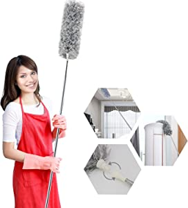 Microfiber Duster for Cleaning Extension Pole, Extra Long 100 inches, Bendable Extendable Dusters for Cleaning Ceiling Fan, Baseboards, Furniture, Cars(Gray)