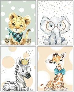 Confetti Fox Zoo Animal Babies Wall Art - 8x10 Unframed Set of 4 Prints - Cute Baby Nursery Pictures Safari Decor - Giraffe Elephant Lion Zebra