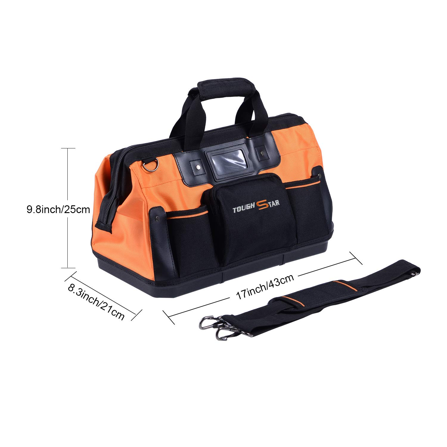 16 Inch 16 Pockets Wide Mouth Single-Shoulder Tool Bag Water Proof Ultra-Rigid Base Tool Storage and Organizer Bag by Sonyabecca (Image #4)