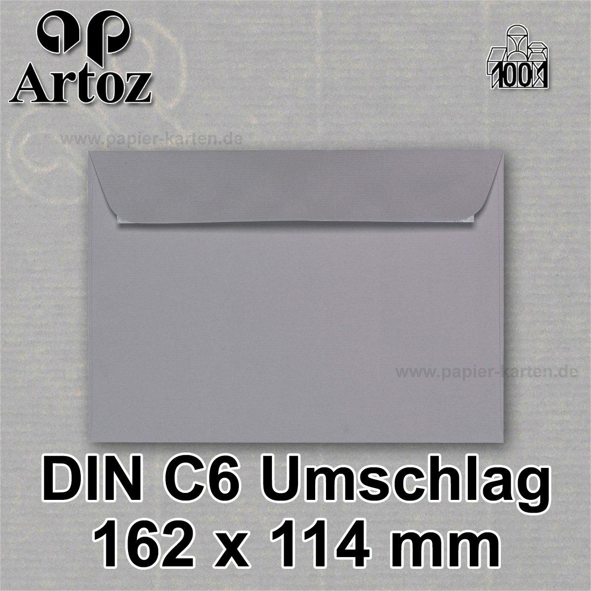ARTOZ 50x Briefumschl/äge DIN C6 Graphit I 16,2 x 11,4 cm Kuvert ohne Fenster I Umschl/äge selbstklebend haftklebend I Serie Artoz 1001