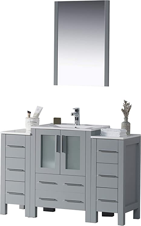 Amazon Com Blossom Sydney 48 Inches Single Bathroom Vanity Ceramic Sink With Double Side Cabinet With Mirror All Wood Metal Grey 001 48 15 Dsc Kitchen Dining