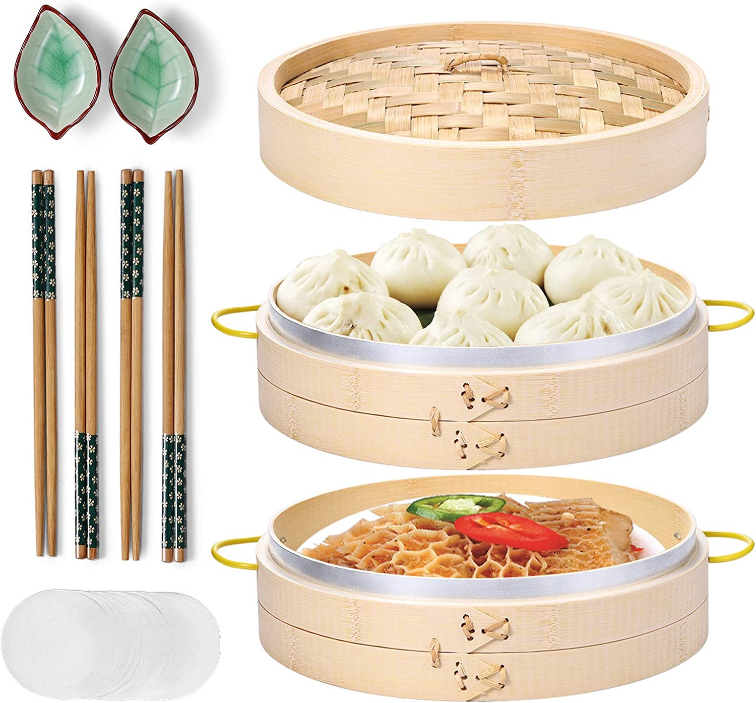 Bamboo Steamer, MacaRio 10 Inch Handmade Baskets with Side Handles & Banding, 4 Sets Chopsticks 2 Ceramic Sauce Dishes 50 Paper Liners, Healthy Cooking for Dim Sum Dumplings, Buns, Seafoods: Kitchen & Dining