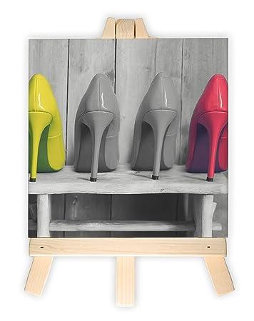 High Heels auf Hocker schwarz/weiß rot gelbe Schuhe, Format: 15x15 ...