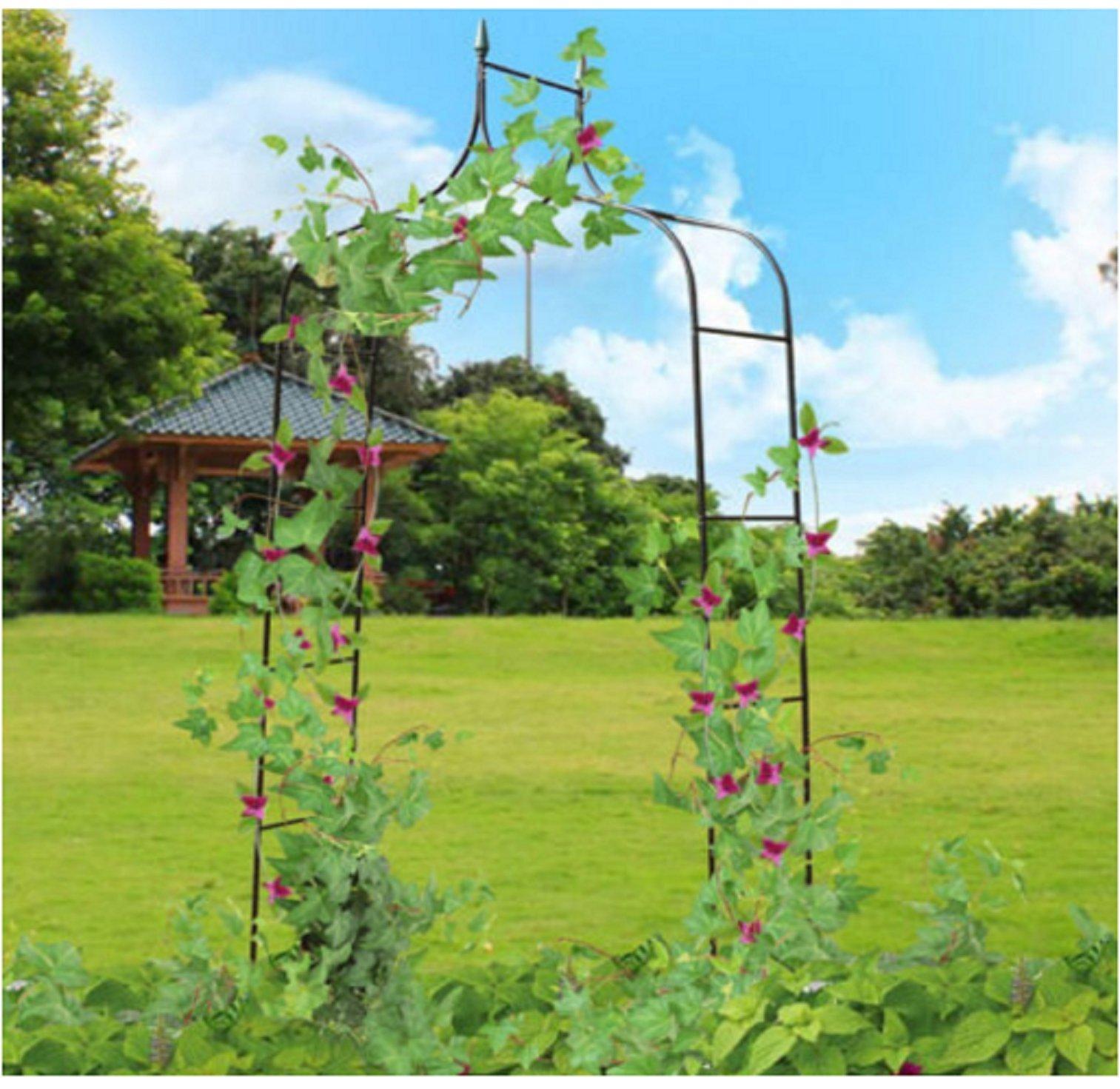 USA Premium Store 8'4 High x 4'7 Wide Steel Garden Arch Rose Arbor Climbing Plant Outdoor Garden