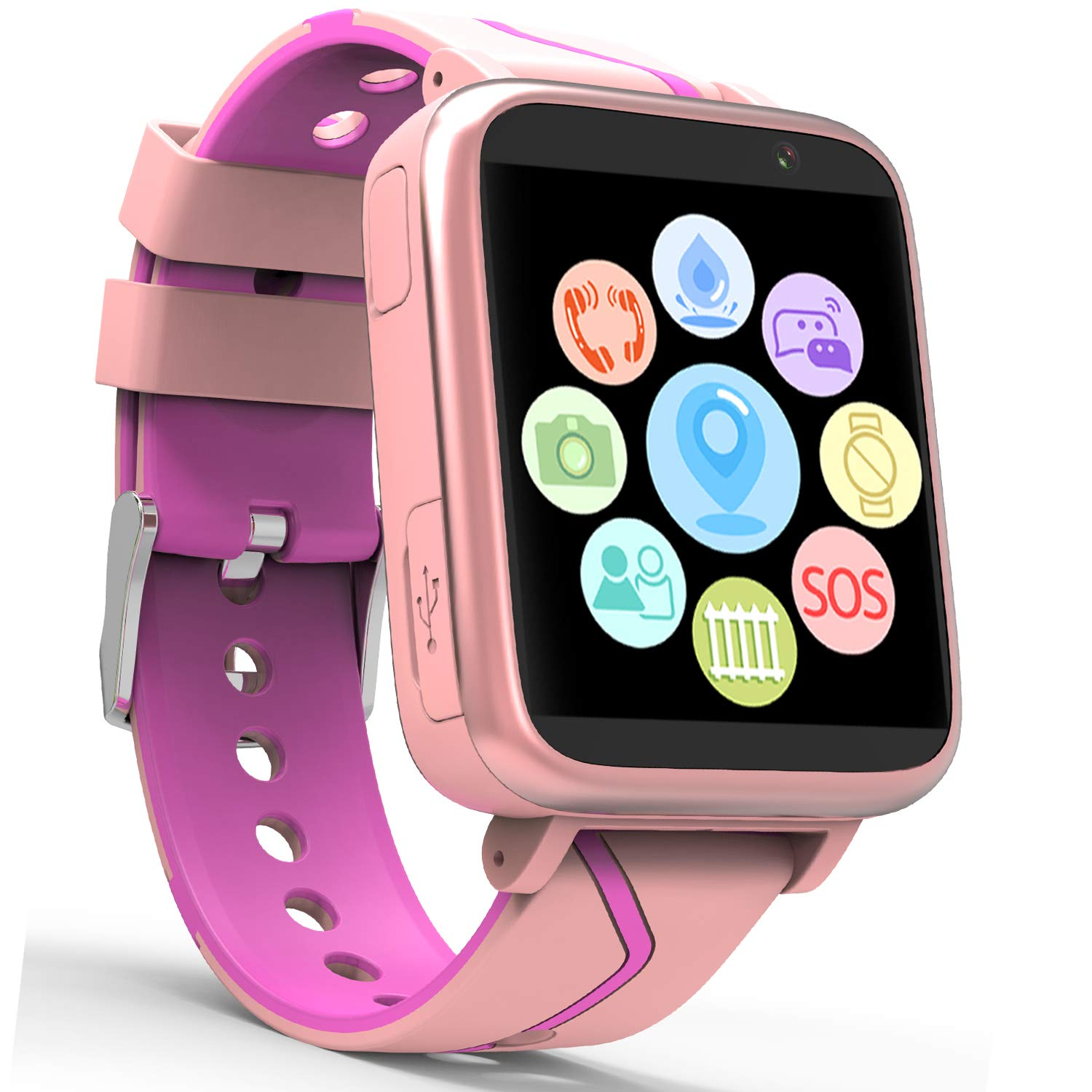 Jesam Kids Music Player Smart Watch - Smart Watch with Mp3 FM Player Watch [with 1GB Micro SD Card] and Camera Flashlight SIM Slot Phone Call Voice Chat for Students Age 4-12 (Pink&Rose) by Jesam (Image #2)