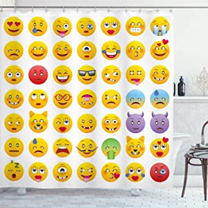 Ambesonne Emoticon Shower Curtain, Cartoon Like Smiling Faces of Monsters Happy Sad Angry Furious Moods Expressions, Cloth Fabric Bathroom Decor Set with Hooks, 70