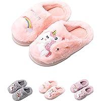 HausFine Pantofole da casa per Bambine Bambini Inverno Morbido Peluche Unicorno Pantofole Comode e Calde Antiscivolo Pantofole per Felice Natale