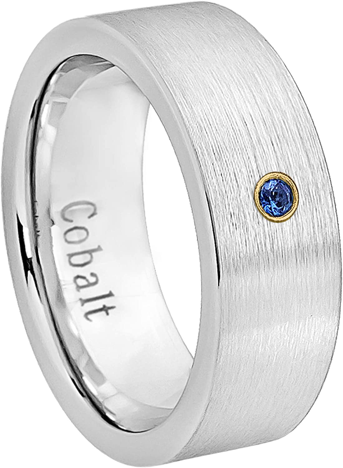 September Birthstone Ring 0.07ct Blue Sapphire Cobalt Ring Jewelry Avalanche 8MM Comfort Fit Brushed Black Ion Pipe Cut Mens Cobalt Chrome Wedding Band