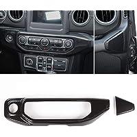 RT-TCZ Car Carbon Fiber Air Conditioner Control Panel Trim Decoration Stickers Trim ABS Cover for Jeep 2018-2020 JL…