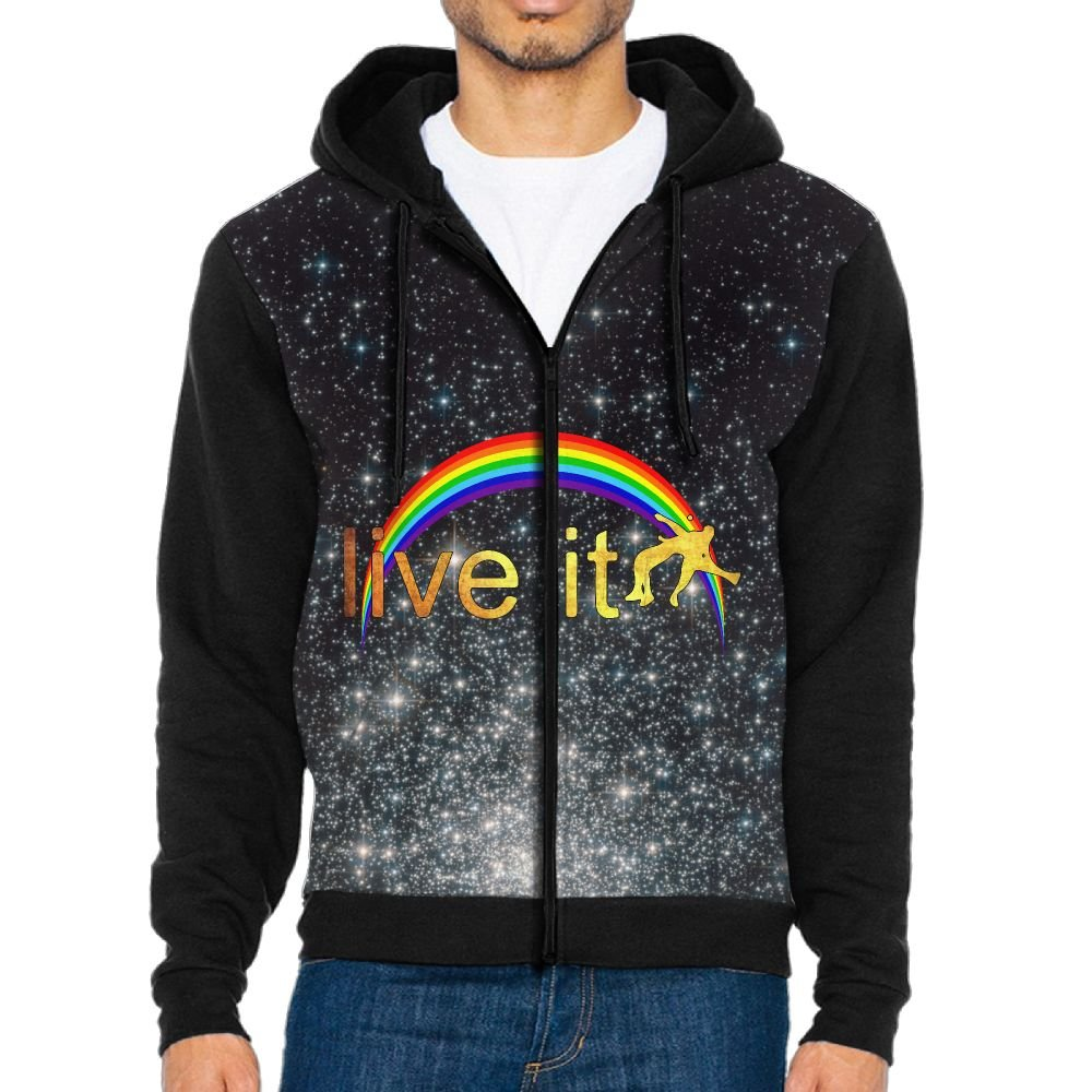 Warmth Rainbow Live It Wrestling Men's Lightweight Zip-up Hoodie With Kanga Pocket XXL by Warmth