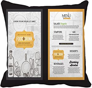 Awowee Throw Pillow Cover Breakfast Vintage Food Restaurant Cooking Flayer Cook Dinner Label 16x16 Inches Pillowcase Home Decorative Square Pillow Case Cushion Cover