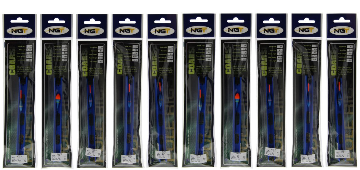 10 Assorted NGT Ready Made Barbless Pole Float Rigs Carp /& Specimen Fishing