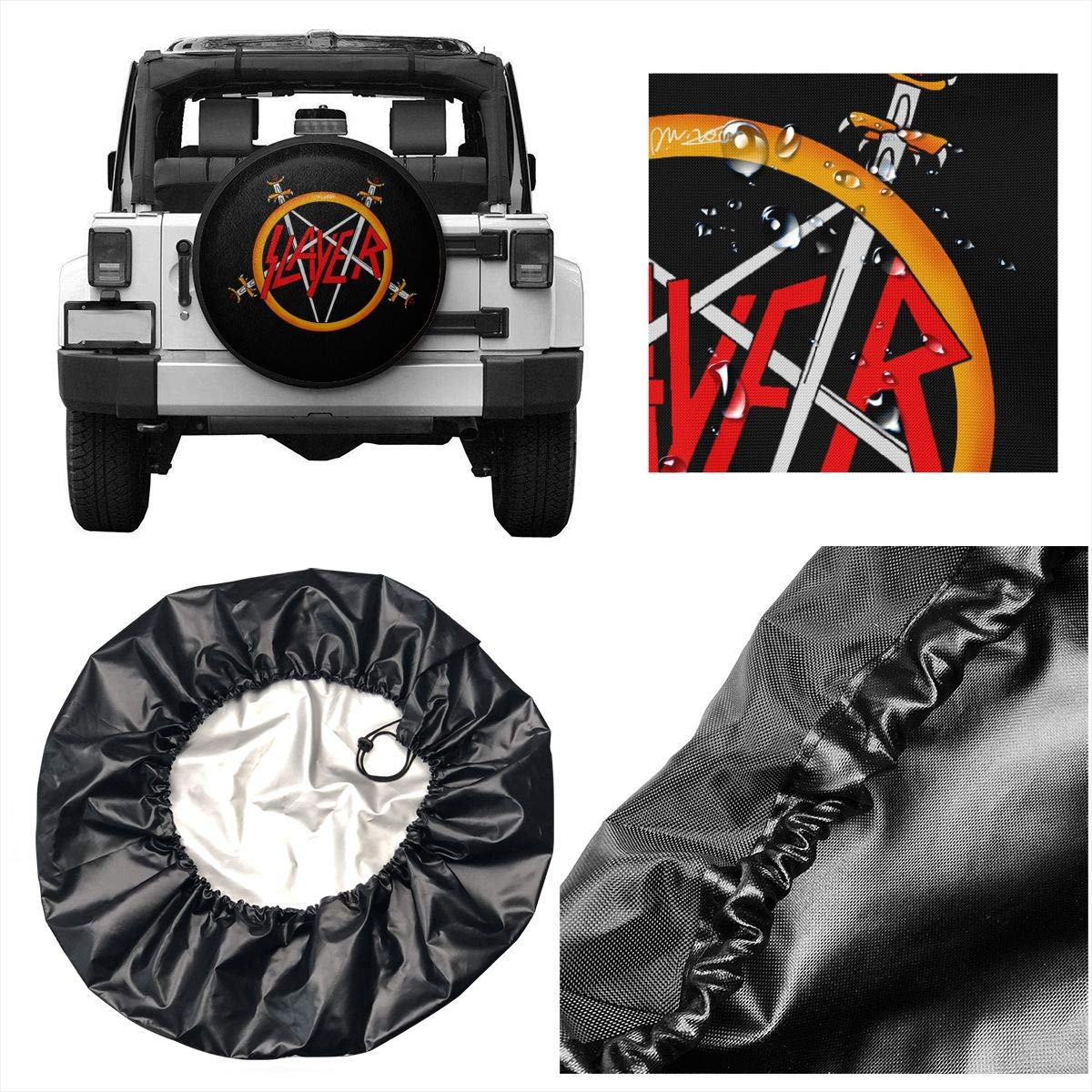 Tataoceanie Spare Tire Cover MaNeg Slayer Rock Band Wheel Covers Universal Tires Protectors