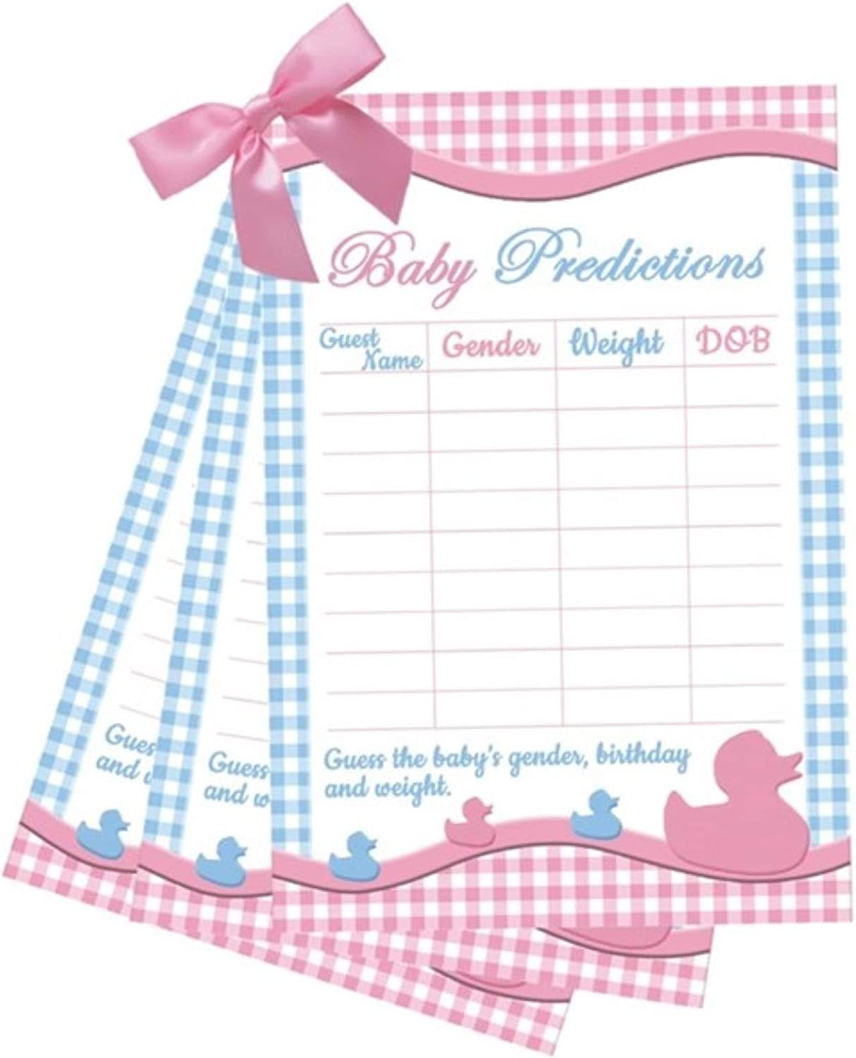 Baby Shower Games Prediction Cards x10 Baby Boy Rabbit Balloon Design Favours