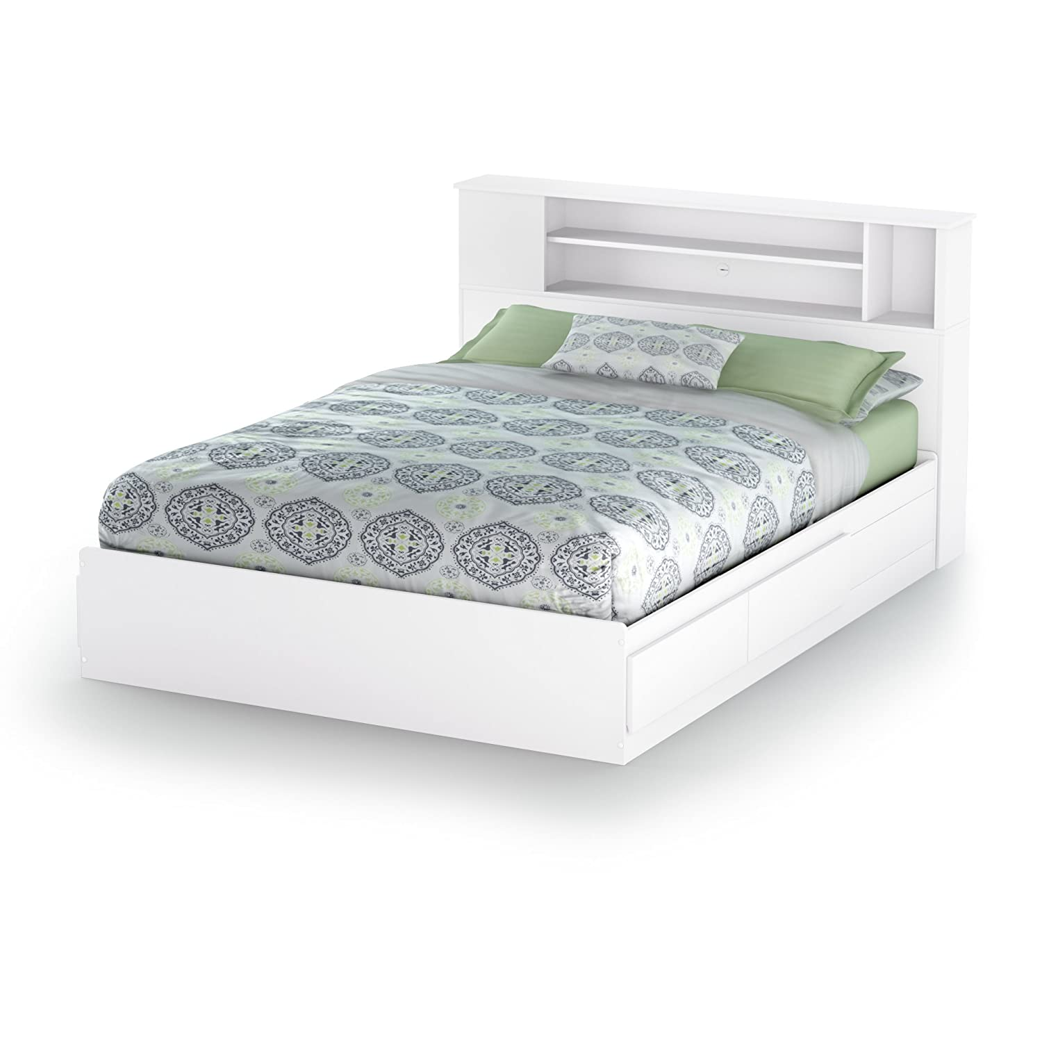 Amazon.com South Shore Vito Bookcase Headboard with Storage Full/Queen 54/60-inch Pure White Kitchen u0026 Dining  sc 1 st  Amazon.com : bed frame with headboard storage  - Aquiesqueretaro.Com
