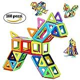 Innoo Tech Blocchi Costruzioni Magnetiche 108 pezzi Giocattoli Educativi Kit Accatastamento Aggiornati per I Bambini Lasciate che il Vostro Bambino Imparare Colori e Forme Attraverso (108 pezzi)