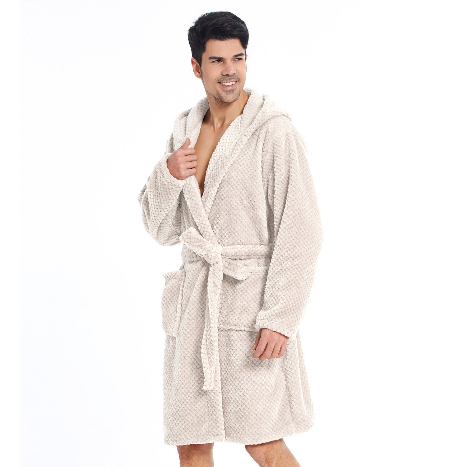 Bathrobe M Short Women Men Unisex Hooded Dressing Gown Microfibre Soft Snug  Cosy Fleece Beige Sleepyhead  Amazon.co.uk  Kitchen   Home 933c7740b