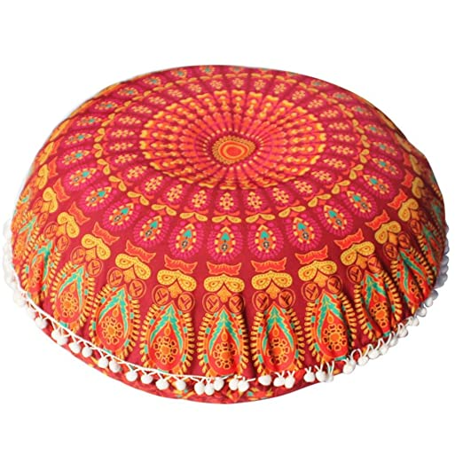 Funda Cojines, Xinan Cojín de meditación de bohemia redonda de grandes almohadas de piso de Mandala 80 * 80cm (Naranja)