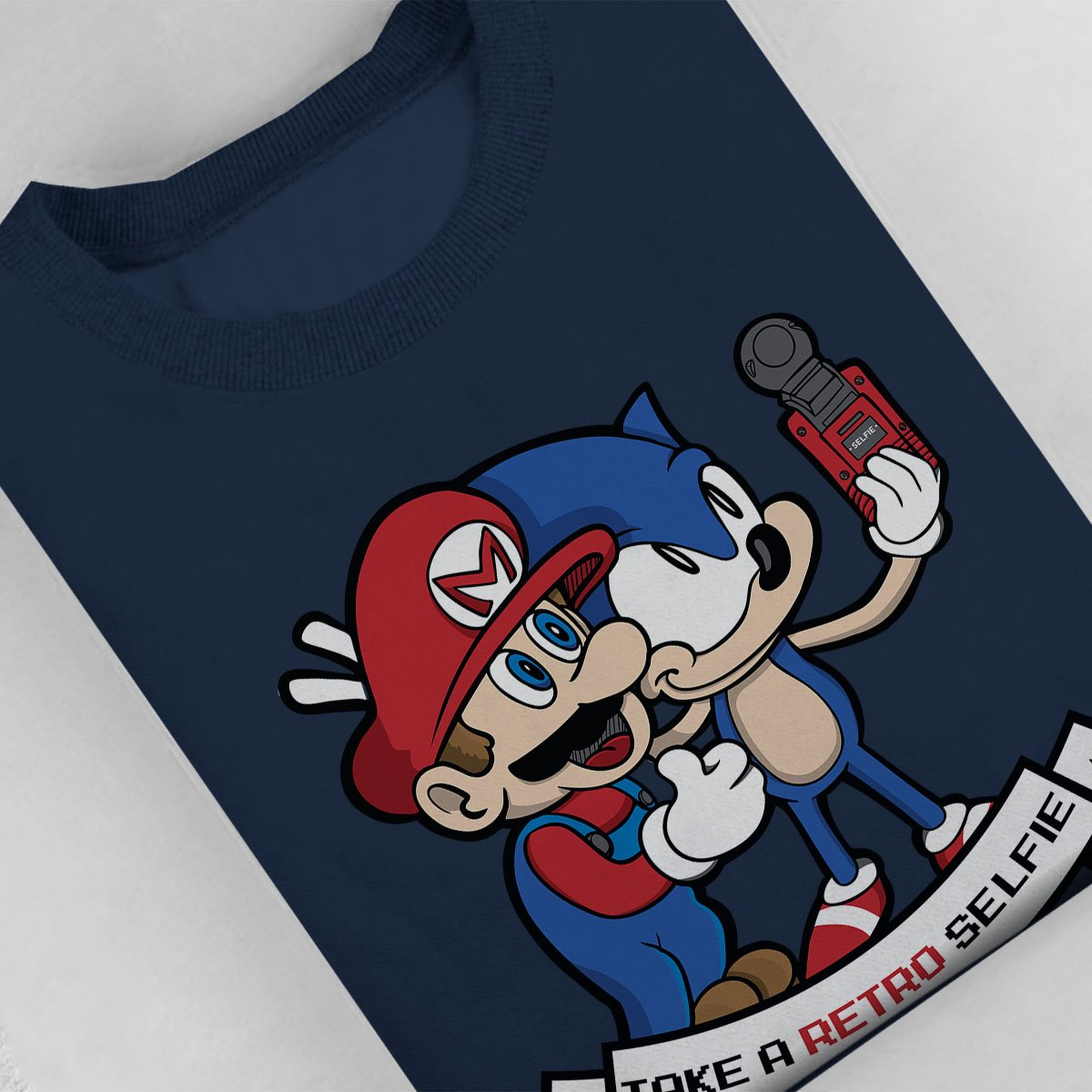 Cloud City 7 Retro Selfie Sonic and Mario Kids Sweatshirt