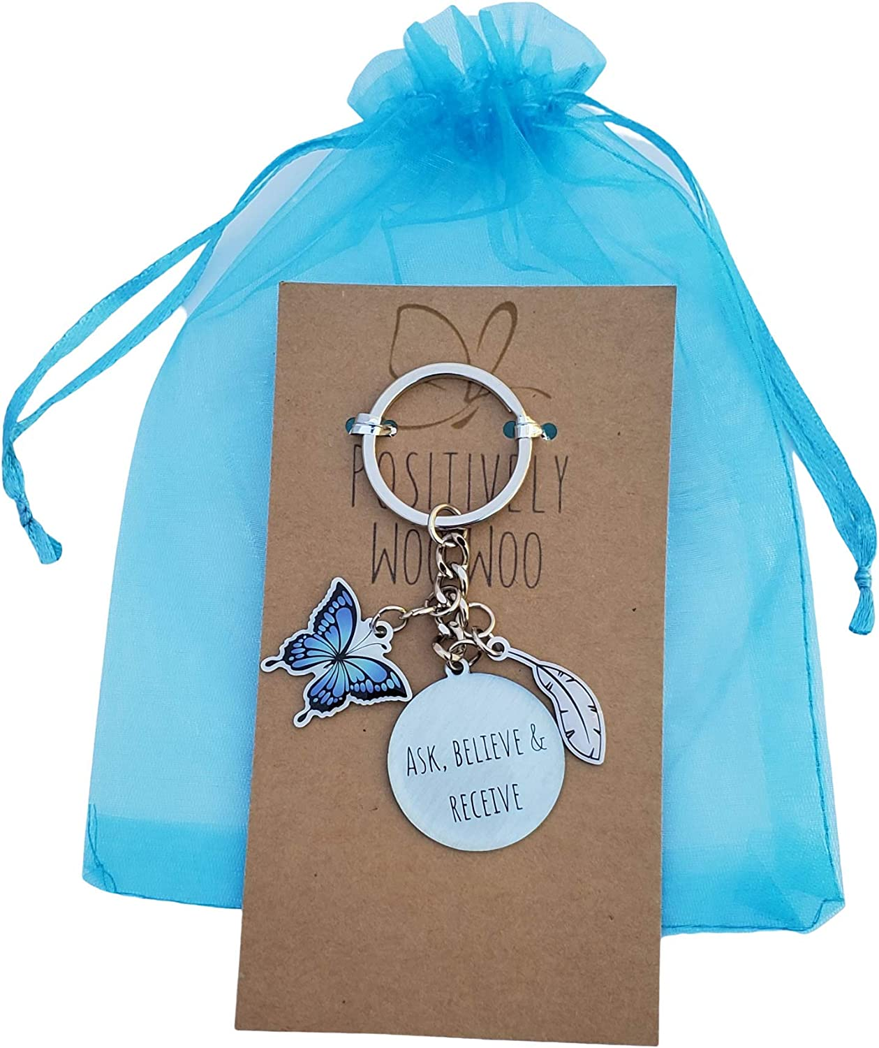 Inspirational Keychain Law Of Attraction Quotes Lucky Feather /& Butterfly Gifts by Positively Woo Woo