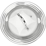 "Modern Innovations Elegant Stainless Steel and Glass Universal Lid, Fits All 7"" to 12"" Pots and Pans, Replacement Frying Pan Cover and Cookware Lids"